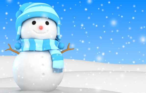 Картинка зима, снег, снеговик, christmas, new year, winter, snow, cute, snowman