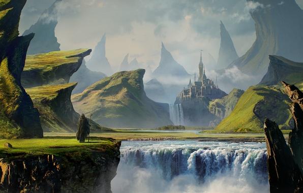 Картинка горы, замок, скалы, водопад, путешественник, путник, waterfall, castle, traveler, Gothic landscape