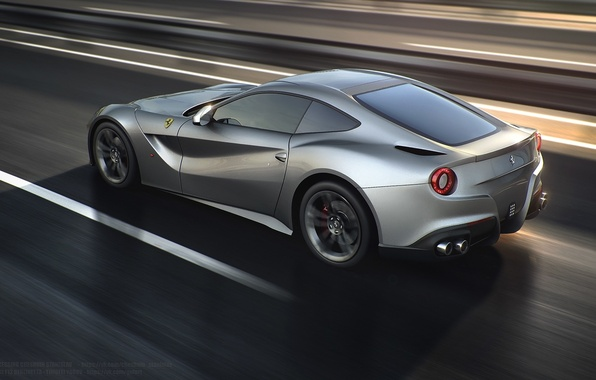 Картинка Ferrari, Speed, Road, Berlinetta, F12, Silver, Rear