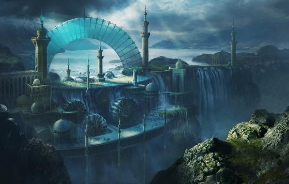 Картинка пейзаж, город, люди, обрыв, скалы, вид, водопад, арт, арка, башни, Michal Matczak