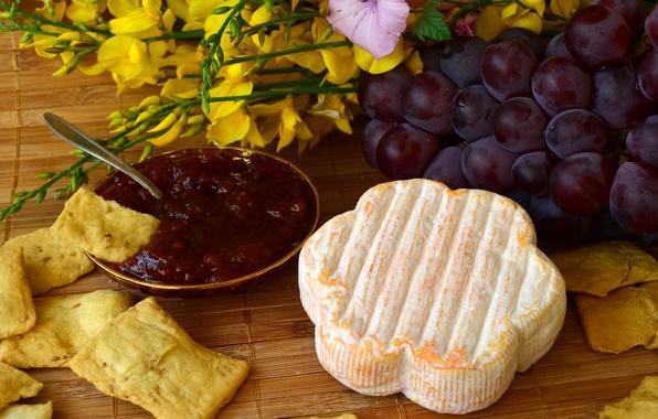 Картинка фото, еда, сыр, виноград, варенье, чипсы