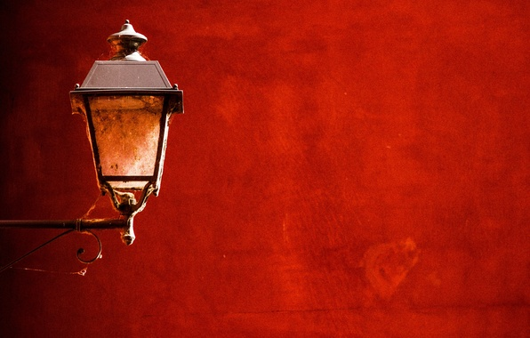 Картинка red, wall, lamp