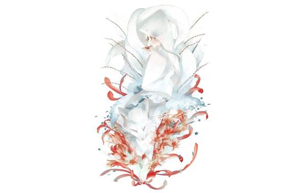Картинка девушка, цветы, маска, лиса, art