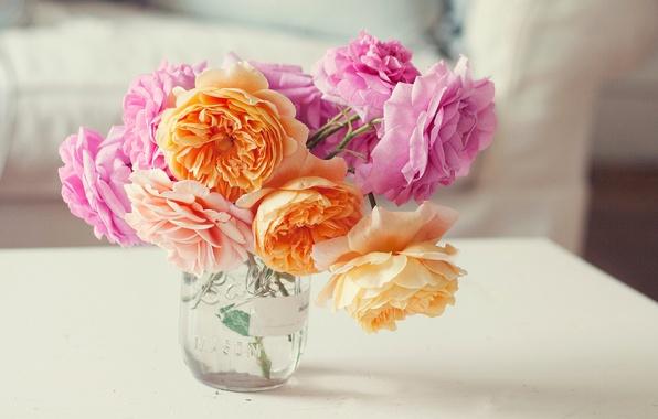 Картинка цветы, розы, букет, лепестки, банка, розовые, оранжевые