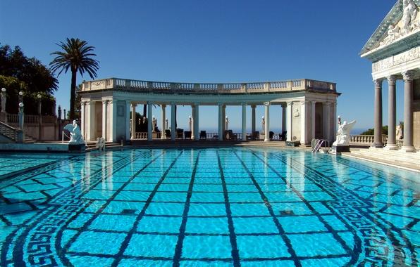 Картинка небо, Калифорния, колонны, США, архитектура, Hearst Castle, Сан-Симеон, бассейн Нептуна