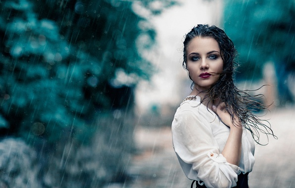 Картинка девушка, дождь, мокрая, макияж, Alessandro Di Cicco