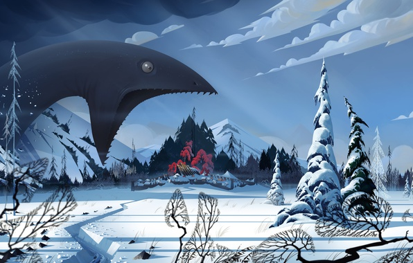 Картинка зима, снег, пейзаж, монстр, деревня, art, The Banner Saga