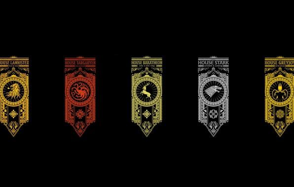 Фото обои wallpaper, Baratheon, crow, Winterfell, Lannister, Game of Thrones, lion, deer, kraken, A Song of Ice ...