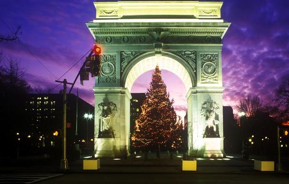 Картинка ночь, елка, арка, Washington Square Park