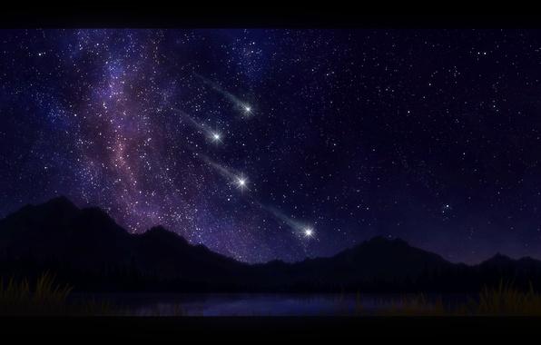 Картинка night, mountains, stars