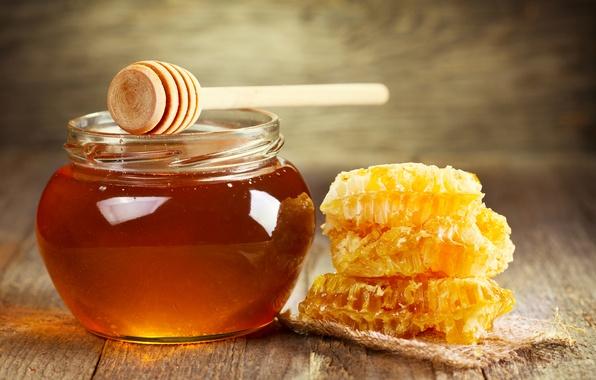 Картинка соты, мед, ложка, банка, мёд, сладкое, баночка