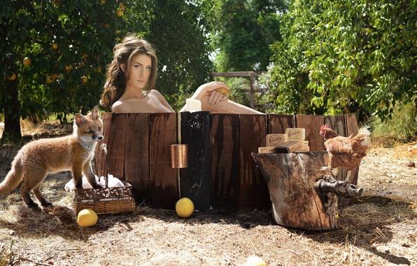Картинка девушка, природа, мыло, ванна, петух, лисенок