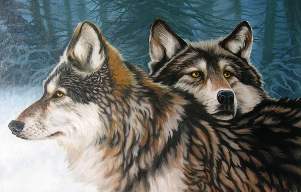 Арт волки лес зима пара верность