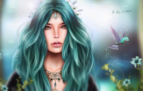 Картинка девушка, цветы, птица, волосы, фэнтези, колибри, украшение