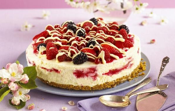 Картинка малина, еда, клубника, торт, пирожное, фрукты, cake, крем, десерт, food, ежевика, сладкое, fruits, cream, dessert, …