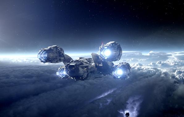 Картинка холод, небо, свобода, космос, облака, свет, ночь, пространство, белое, планета, высота, скорость, спутник, чёрное, свечение, …