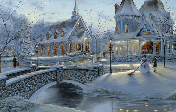 Картинка зима, мост, люди, праздник, елка, дома, рождество, снеговик, живопись, Robert Finale, искусство