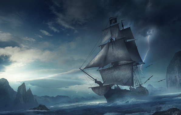 Картинка море, волны, шторм, фантастика, скалы, молния, корабль, парусник, буря, фэнтези, арт, полёт, стая птиц, фьорд, …