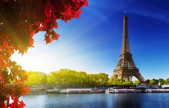 Картинка осень, небо, листья, солнце, деревья, река, Франция, Париж, Сена, красные, Эйфелева башня, Paris, France, Eiffel …