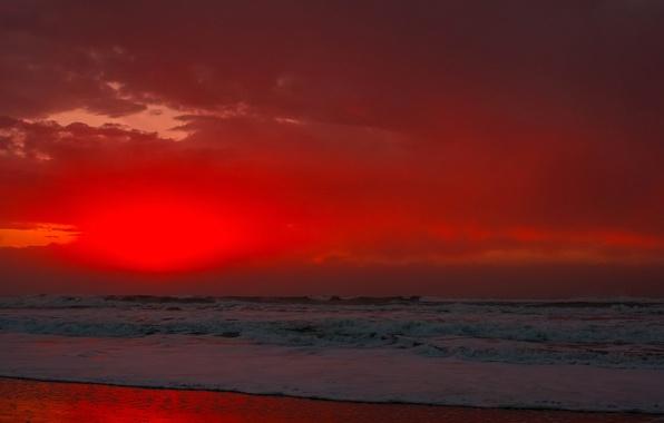 Картинка море, волны, небо, облака, закат, берег, прибой