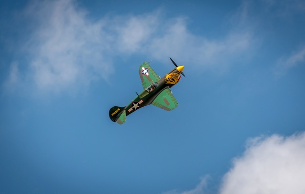 Картинка небо, облака, полет, ретро, самолет, истребитель, парад