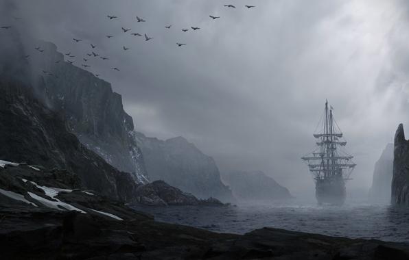 Картинка море, вода, пейзаж, горы, птицы, туман, скалы, берег, корабль