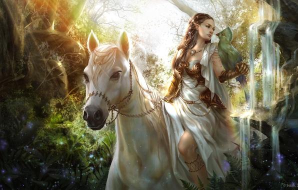 Картинка взгляд, девушка, птица, лошадь, арт, эльфийка, фэнтази, животное. природа