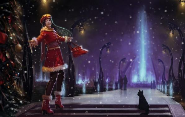 Картинка зима, кошка, девушка, снег, ночь, луч, арт, фонари, ёлка, аллея, веселье