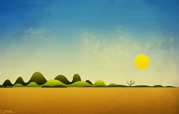 Картинка небо, солнце, пейзаж, дерево, холмы, коллаж, пустыня, арт, Simple Things, freakyframes
