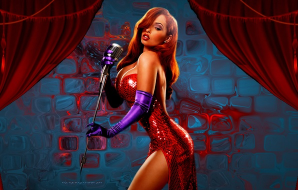 Картинка sexy, boobs, jessica, red dress, roger rabbit