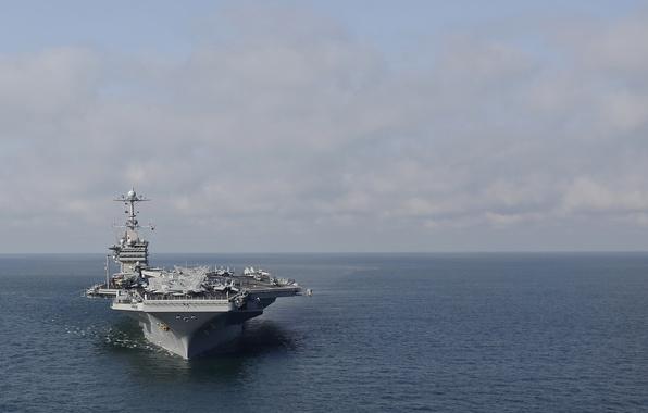 Картинка море, небо, авианосец, USS, типа «Нимиц», Harry S. Truman, (CVN-75)