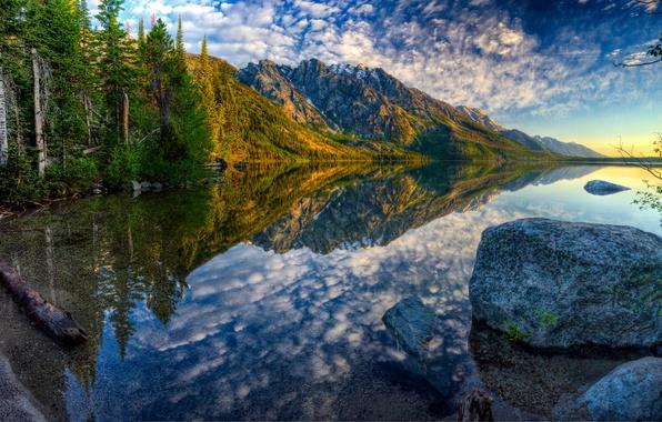 Картинка осень, лес, небо, горы, озеро, камень, hdr, Вайоминг, США, Jenny Lake