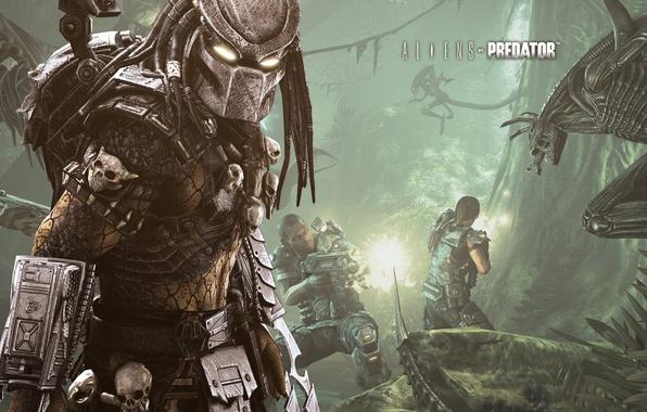 Картинка игры, хищник, перестрелка, военные, чужоые, Aliens vs Predator