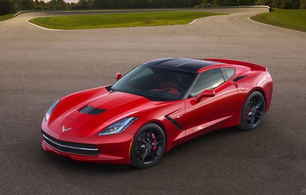 Картинка Красный, Авто, Corvette, Chevrolet, Асфальт, Спорткар