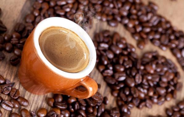 Картинка пена, сердце, кофе, зерна, пар, чашка, напиток