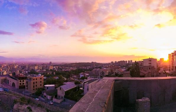 Обои картинки фото ереван, армения, каскад, закат, солнце