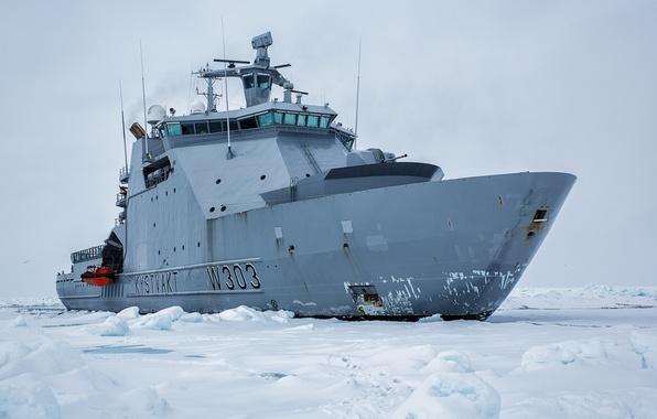 Картинка льды, Норвегия, ледокол, Norway, KV Svalbard, патрульное судно, Norwegian Coast Guard Svalbard, NoCGV Svalbard