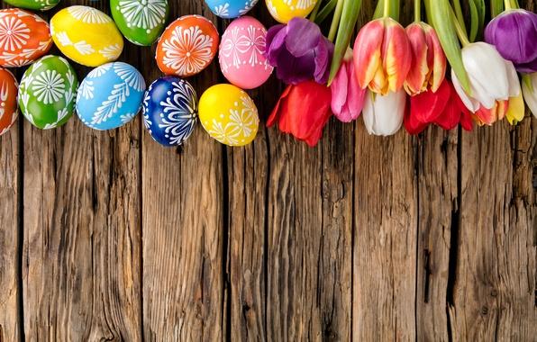 Картинка яйца, colorful, Пасха, тюльпаны, happy, wood, flowers, tulips, spring, Easter, eggs, holiday