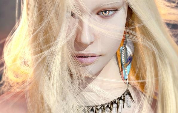 Картинка взгляд, девушка, украшения, рендеринг, серьги, блондинка