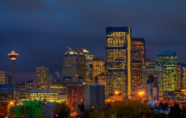Картинка небо, деревья, ночь, город, огни, здания, башня, небоскребы, освещение, Канада, фонари, синее, Калгари, провинция Альберта