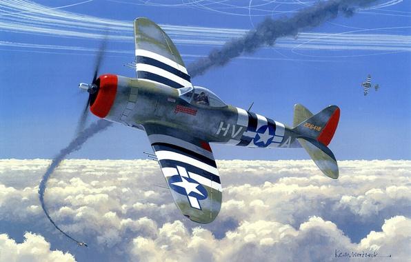Картинка aircraft, war, art, airplane, painting, aviation, drawing, ww2, dogfight, air combat, p 47 thunderbolt