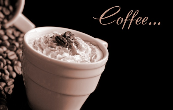 Картинка пена, кофе, чашка, крем, cup, зёрна, Coffee, кофейные, cream, foam, coffee beans, бобы