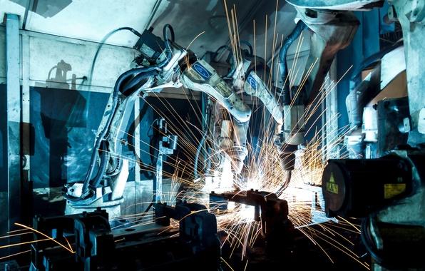 Картинка precision, machine, sparks, robotics, welder