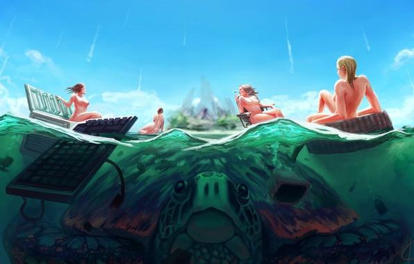 Картинка море, девушки, остров, черепаха, кресло, арт, холодильник, клавиатура, гигантская