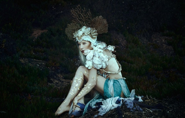 Картинка фантазия, корона, кораллы, наряд, сирена, Jessica Dru