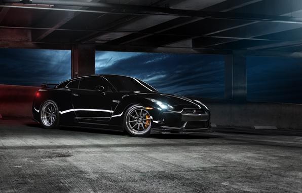 Картинка чёрный, перед, парковка, Nissan, GT-R, black, ниссан, front, R35