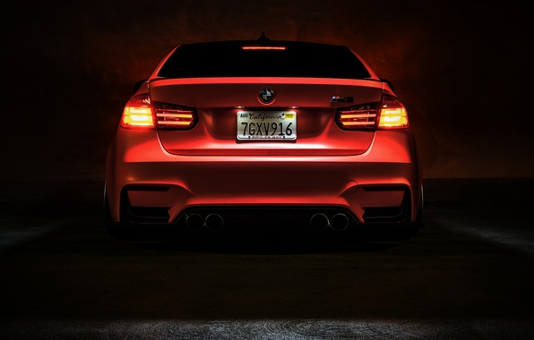 Картинка BMW, Light, Orange, Car, Tuning, Vossen, Low, Wheels, Rear, F80, Perfomance