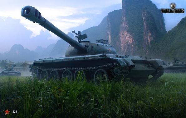 Картинка Небо, Облака, Горы, Трава, Здания, Китай, Танки, WoT, World of Tanks, Мир Танков, Wargaming Net, ...