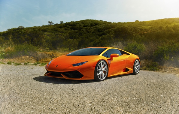 Картинка Lamborghini, Orange, Front, Sun, Diamond, Supercars, Edition, Exotic, Huracan, LP640-4