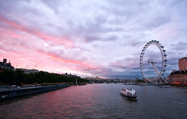 Картинка небо, тучи, река, Англия, Лондон, здания, вечер, Великобритания, Темза, архитектура, набережная, столица, London, England, London …